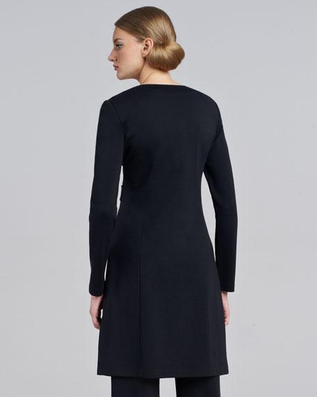 Milano Knit Jewel-Neck Jacket, Caviar
