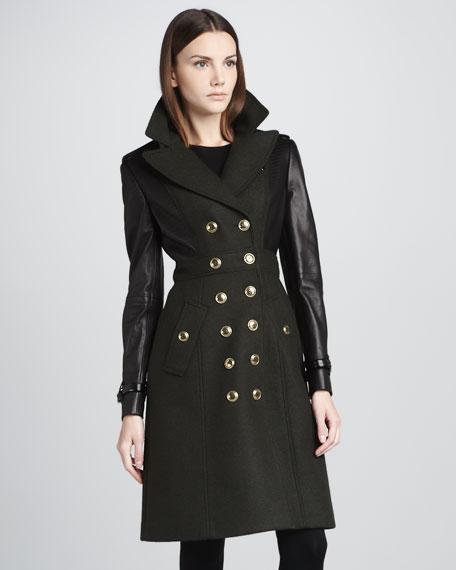 Leather-Panel Military Coat