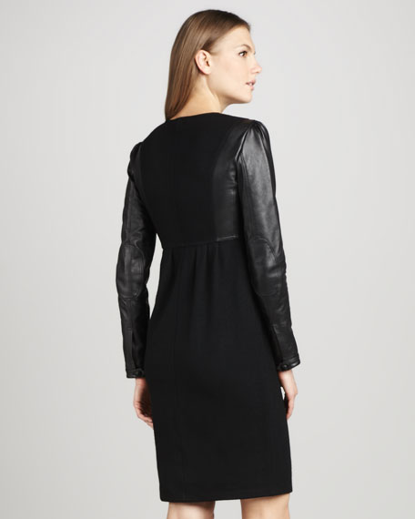 Leather-Sleeve Jersey Dress