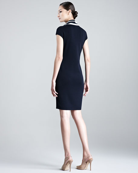 Sashika Cap-Sleeve Dress with Scarf