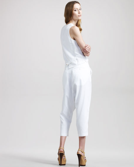 Cropped Harem Trousers, White