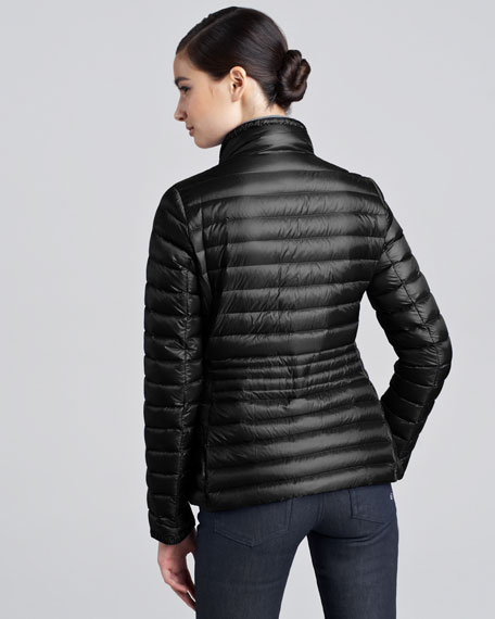 Contour-Quilted Hip-Length Puffer Jacket, Black