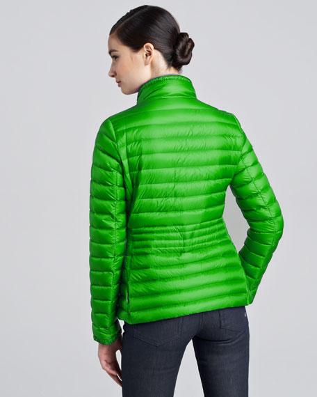 Contour-Quilted Hip-Length Puffer Jacket, Citrus