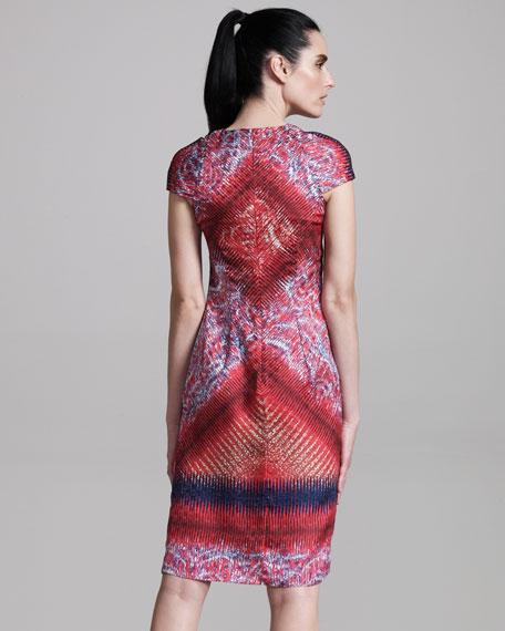 Printed Cap-Sleeve Sheath Dress