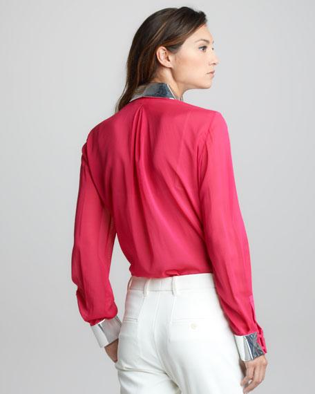 Metallic-Trim Silk Shirt