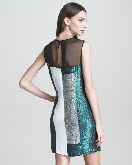 Sequined Collage Cocktail Dress