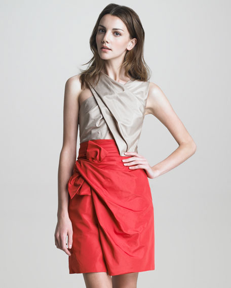Colorblock Taffeta Bow-Front Dress