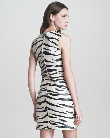 Zebra-Print Leather Dress