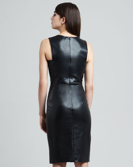 Envelope-Skirt Lambskin Leather Dress