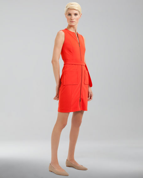 Front-Zip Pocket Dress, Tomate