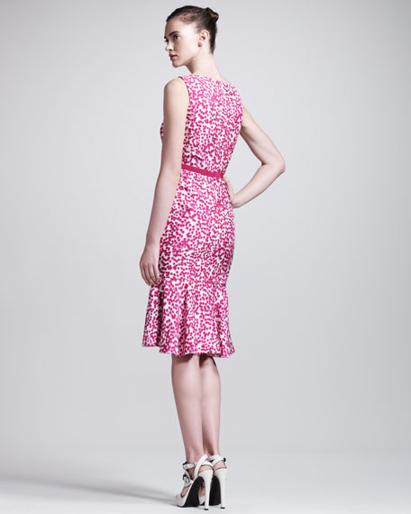 Dot-Print Shantung Dress