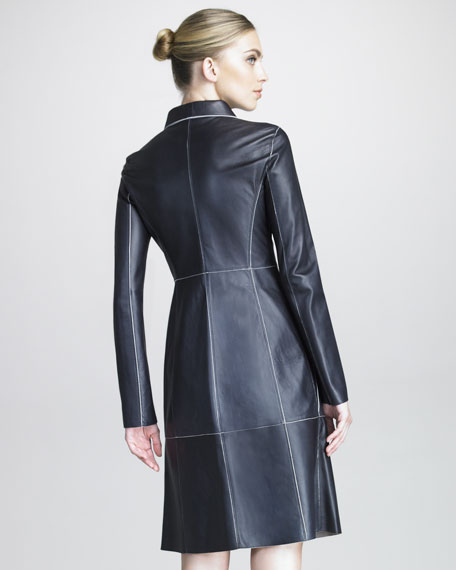 Contrast-Piped Leather Coat