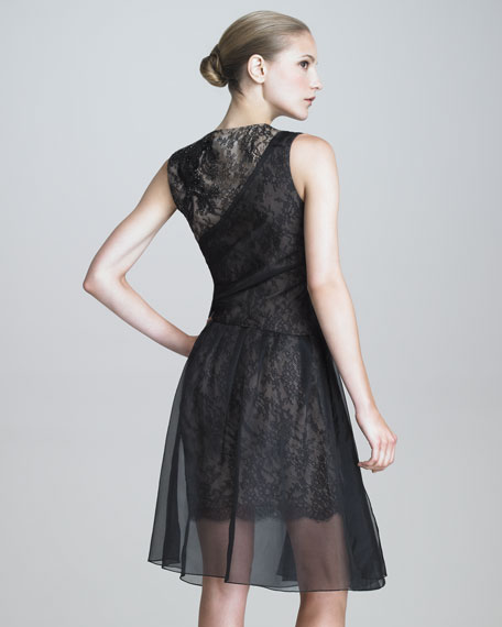 Lace-Organza Cocktail Dress