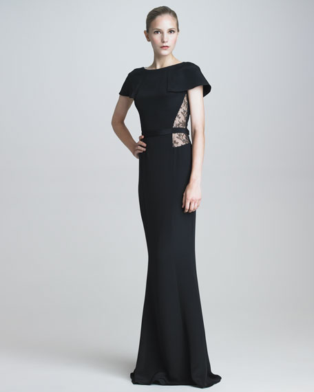 Capelet Lace-Inset Gown
