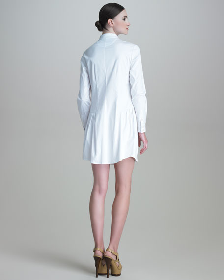 Long-Sleeve Drop-Waist Poplin Shirtdress