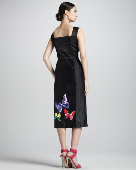 Embroidered Satin Midi Sheath Dress