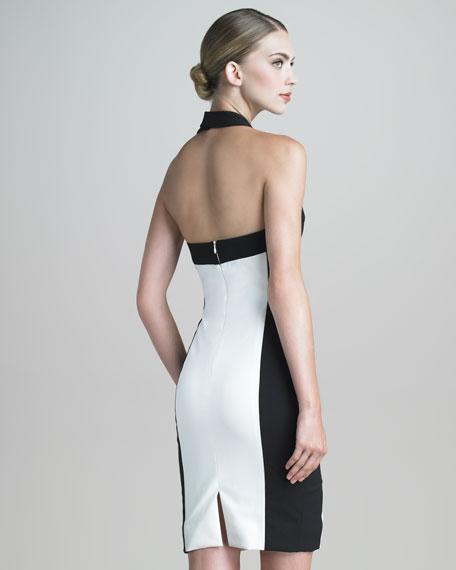 Colorblock Halter Sheath Dress
