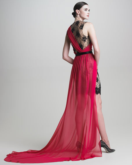 Lace-Underlay Draped Chiffon Gown