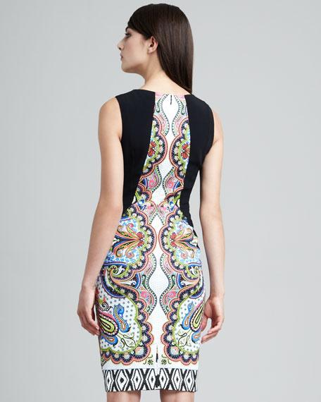 Trompe l'Oeil Basketweave-Panel Dress