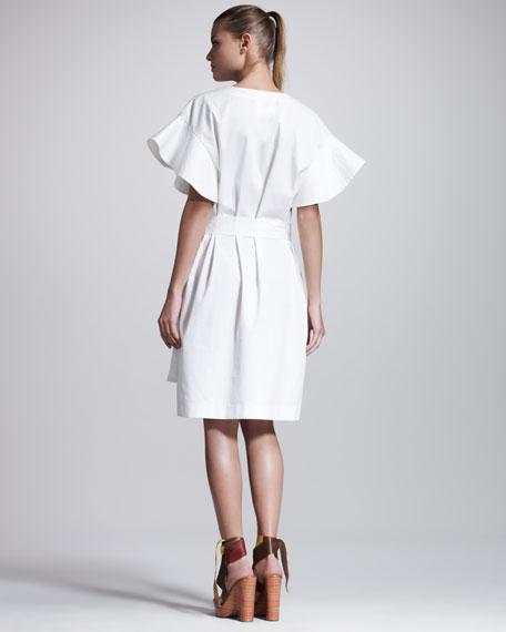 Flutter-Sleeve Caftan Dress
