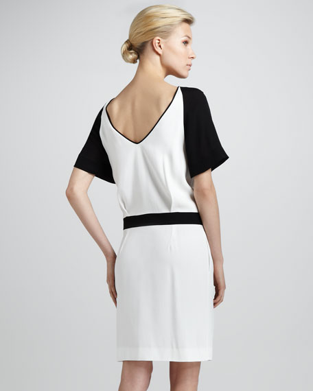 Contrast-Raglan-Sleeve Drop-Waist Dress, Milk/Black