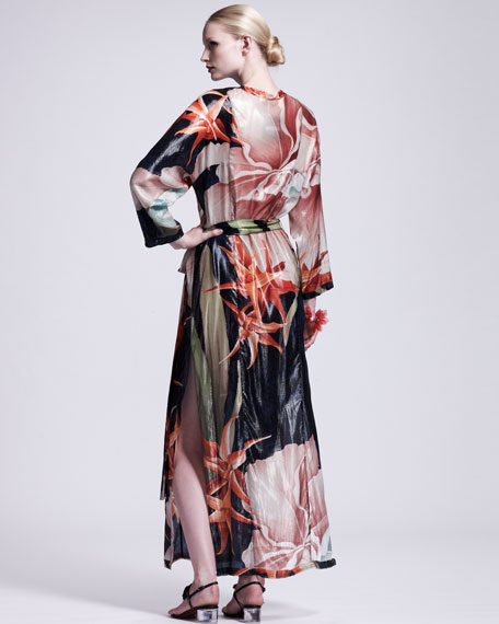 Tropical-Print Caftan Maxi Dress