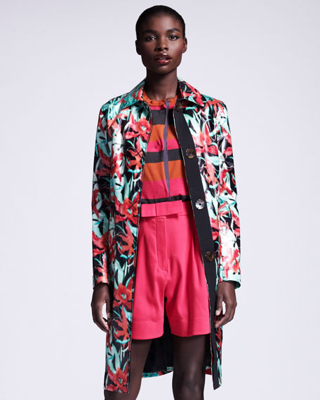 Floral-Print Raincoat