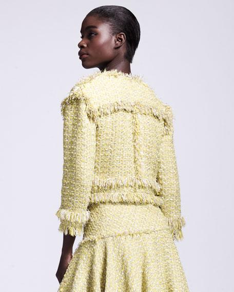 Cropped Fringe-Trimmed Tweed Jacket