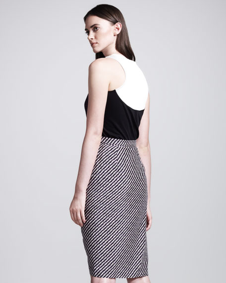 Diagonal-Stripe Wrap Skirt