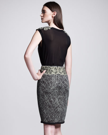 Graphic-Printed Studded Skirt