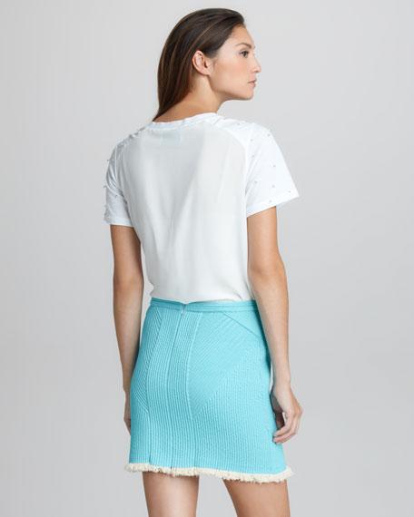 Corded Fringe-Hem Miniskirt