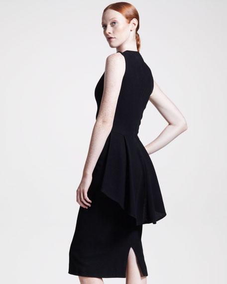 Peplum-Back Jersey Dress