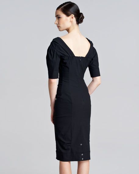 Stretch-Faille Brooch Dress