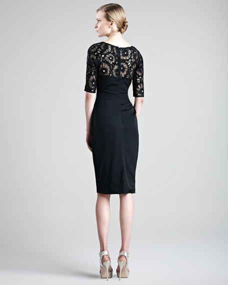 Ruched Lace-Top Dress