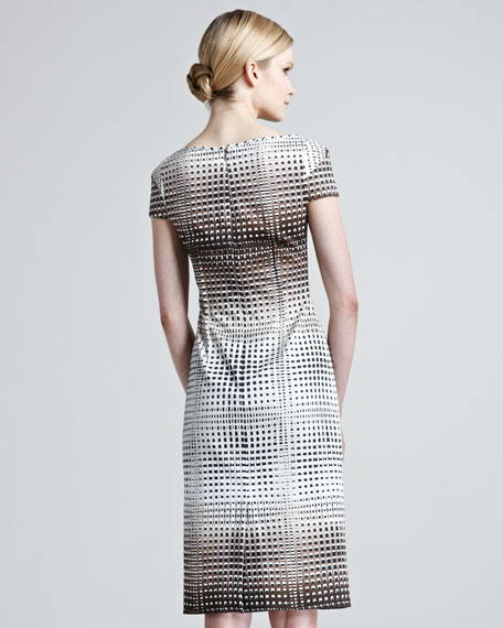 Square-Print Stretch-Cotton Dress