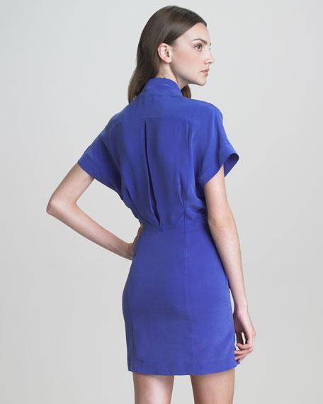 Paper-Collar Pocketed Silk Dress