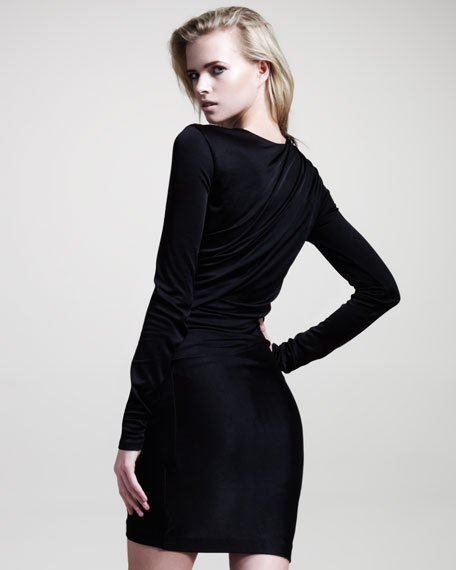 Draped Shiny Jersey Long-Sleeve Dress