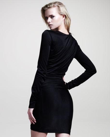 Draped Shiny Jersey Long-Sleeve Dress