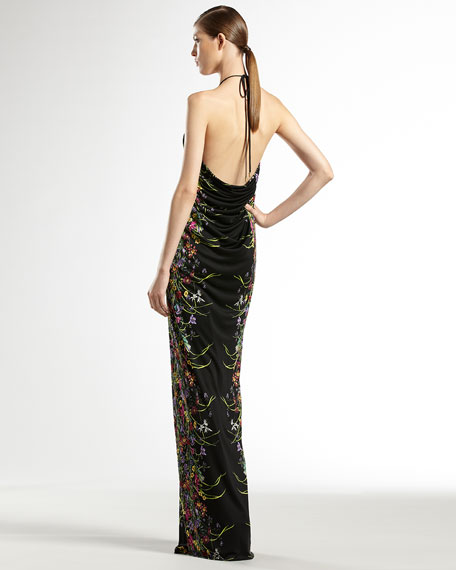 Tiger Flower-Print Jersey Gown