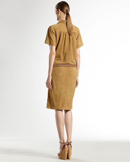 Leather-Belted Suede Dress