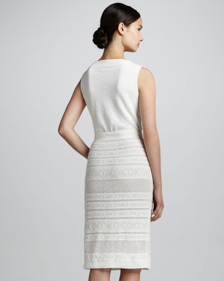 Sleeveless Knit Dress with Lace Bottom