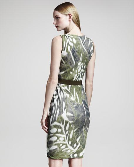 Leaf-Print Linen Dress