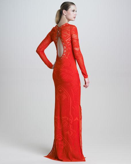 Pointelle-Knit Long-Sleeve Maxi Dress
