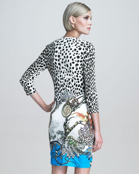 Coral-Beaded Mixed-Print Dress
