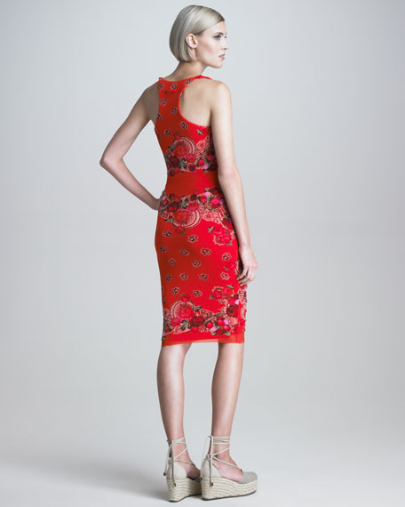 Ruched Rose-Print Sheath Dress