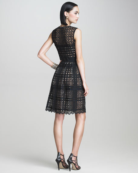 Button-Front Lattice Dress