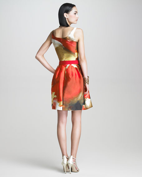 Tulip-Print A-Line Dress