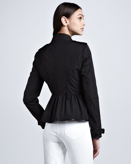 Leather-Trim Taffeta Shirt Jacket