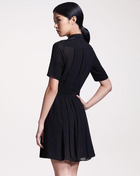 Arlesey Leather-Trim Dress