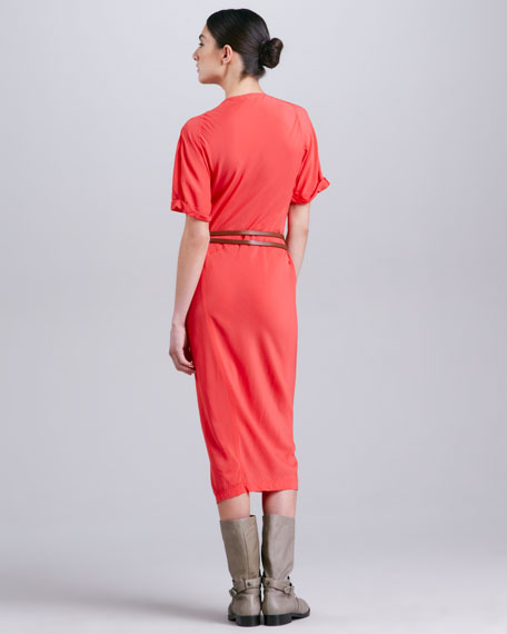 Asymmetric-Draped Crepe Dress